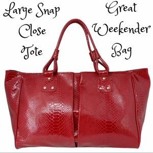 Large Red Faux Patent Leather Tote- Red